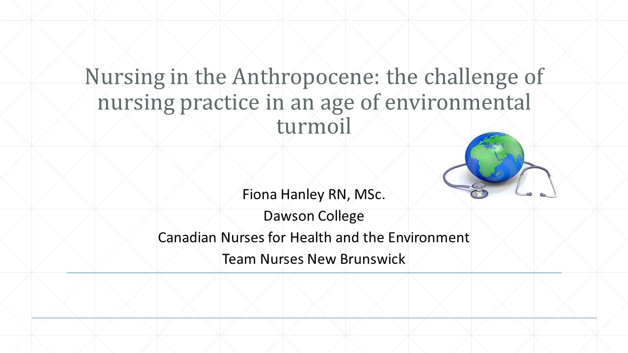 Nursing in the Anthropocene: the challenge of nursing practice in an age of environmental turmoil
