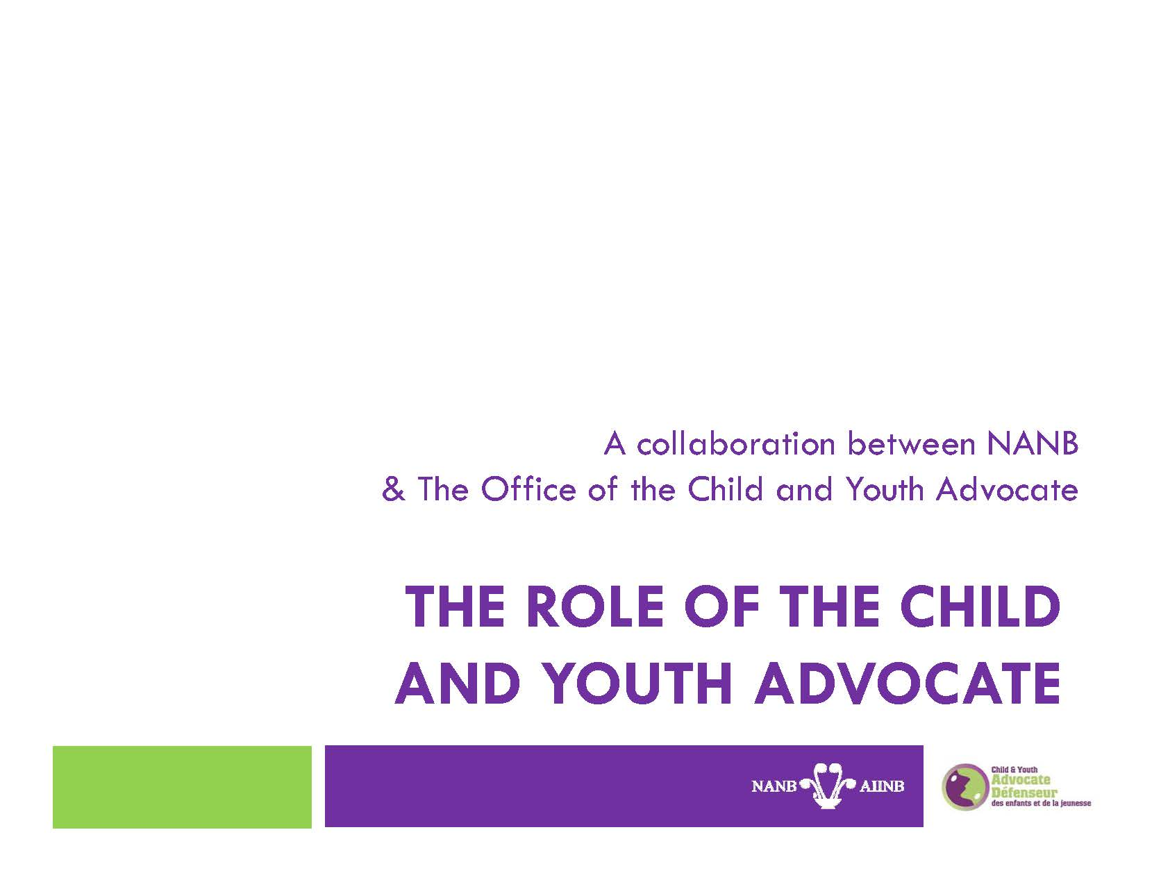 The Role of the Child and Youth Advocate